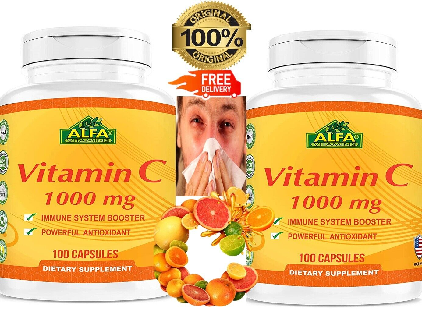 Vitamin C 1000 mg. 100 Capsules. 2 Bottles Packs.Improve Immune System 200 caps