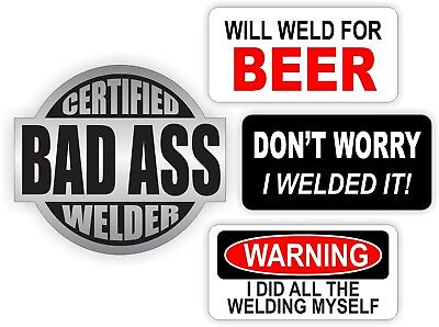 4 Welder Hard Hat Stickers Helmet Decals Labels Weld Welding Sparky Bad Ass