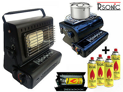 Ceramics Electric Fire Gas Heater 1,3KW Gas Ejector Camp Stove + Gas Cartridge