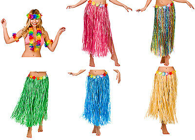 Hawaiian Hula Grass Skirt Costume Set Inc. Lei Plus Size 80cm length Size 18-24 - Lei Costume