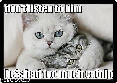 Funny Cat Humor Don't Listen To Him Refrigerator Magnet