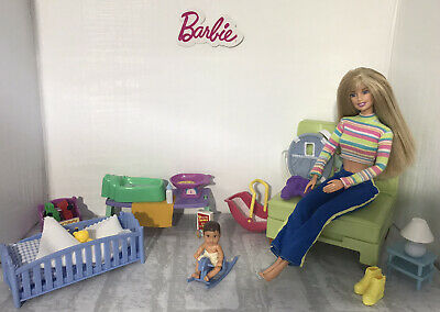 Barbie 👶🏼 Nursery Playset With Dolls, Furniture & Accessories ~ Mattel