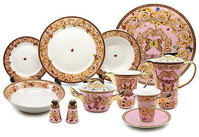 Royalty Porcelain Vintage Pink 49-pc Dinnerware Set