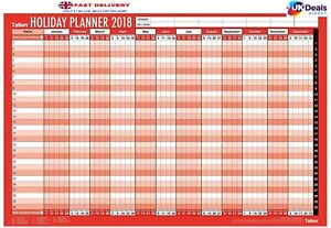 2018 Staff Holiday Wall Planner Laminated Pen Coloured dots Unmounted Large 3808