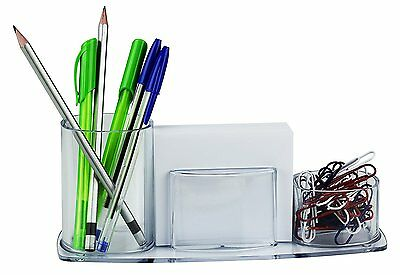 Acrimet Millennium Desk Organizer Pencil Paper Clip Cup Holder Wpaper Crystal