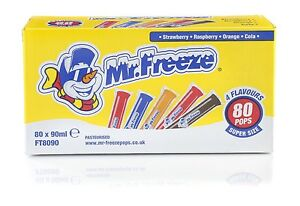 Mr Freeze Ice Pops lollies 80 x 90ml Uk Shipping 4 Flavours Long dated.