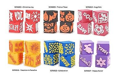 4 in 1 Foam Stamp Cubes - 6 Style Choices Scrapbooking Crafts Holiday fnt