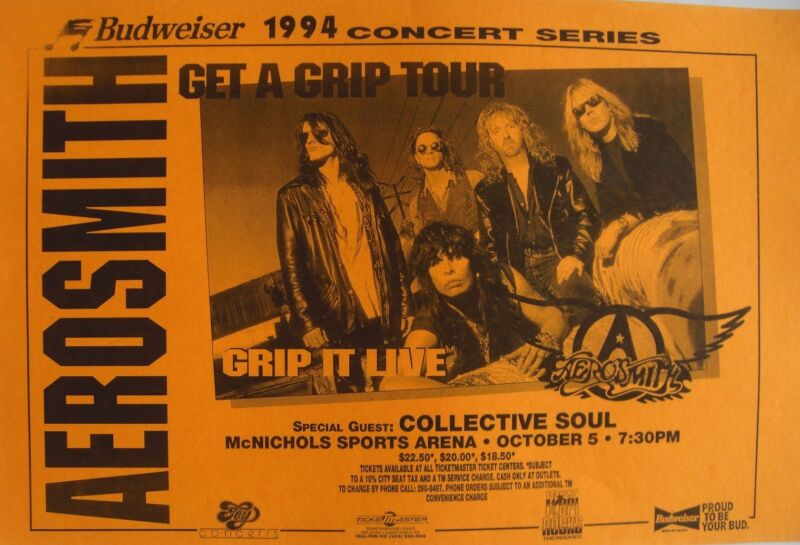 AEROSMITH / COLLECTIVE SOUL 1994 DENVER CONCERT TOUR POSTER -GET A GRIP TOUR