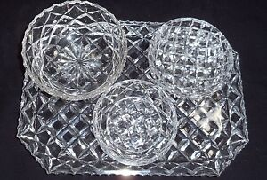 VINTAGE RETRO LEAD CRYSTAL DRESSING TABLE VANITY TRAY & 3 BOWLS Kambah Tuggeranong Preview