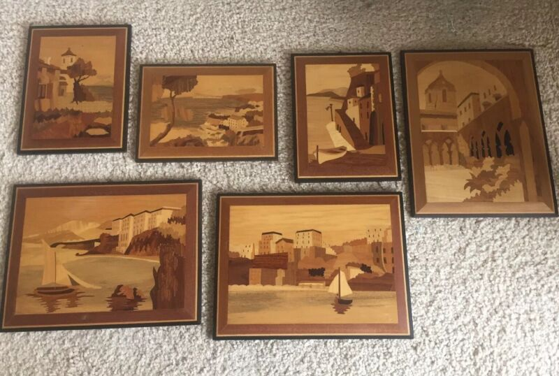 6 Vintage German Handmade Inlaid Wood Picture Assortment
