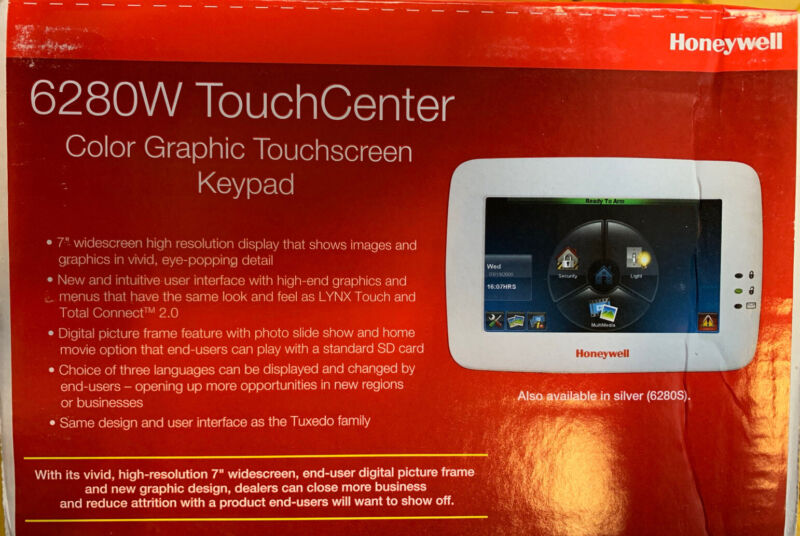 New Honeywell 6280W White Color Touchscreen Keypad Free Expidited Shipping