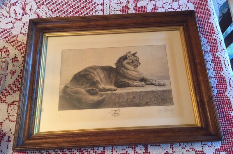 Ferdinand Oger (1872-1929 French) Drypoint Etching Cat Signed Embossed ATS