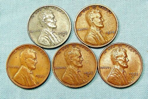 (1) 1943 S  Lincoln Steel Cent & (4) Copper Wheat Varies Dates *33903