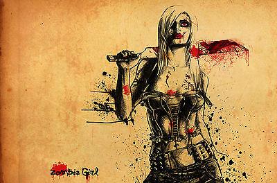 Gerahmter Druck - Zombie Mädchen (Walking Dead Bild - Zombie Mädchen Bilder