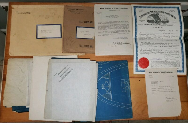 Marine Blueprints American Bureau Shipping 1940 Screw Steel Tug Documents WWII