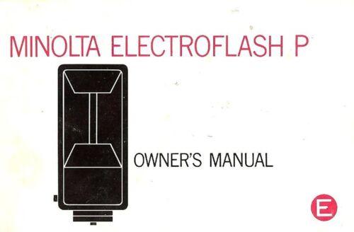 MINOLTA CAMERA ELECTROFLASH P FLASH UNIT INSTRUCTION MANUAL