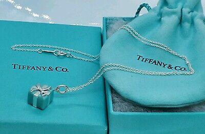 Tiffany & Co.  Silver Blue Enamel  Gift Box Necklace Charm Pendant 18