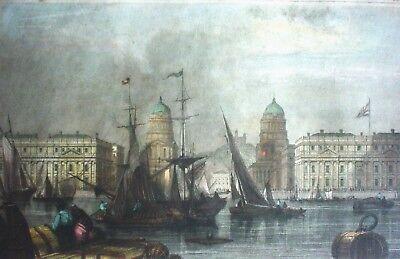 GREENWICH HOSPITAL (London mit Themse und Schiffen) - Color Stahlstich um 1840