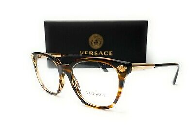 Versace VE3242 5202 Striped Havana Demo Lens Women Eyeglasses Frame 54mm