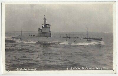 1917 WWI era Submarine - REAL PHOTO U.S. Military, New York - Vintage Postcard