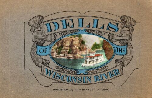 """1912 Superb """"Dells of the Wisconsin River"""" Color Photos H. H. Bennett 42p. Book"""