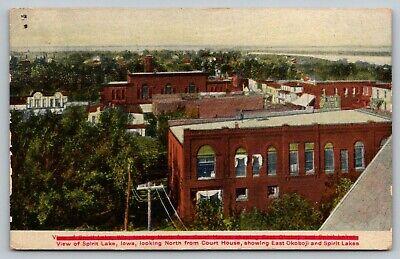 Spirit Lake Iowa~Birdseye View North from Court House~Miller's Cash Store~1909