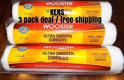 Wooster Cover Roller (3 Pack Paint Roller Cover,3/16in.Nap,Woven WOOSTER 066544 Ultra Smooth Rollers )