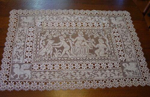 """Antique Lace Table Centerpiece Italian Reticella Figurals Lace Inserts 25 x 35"""""""