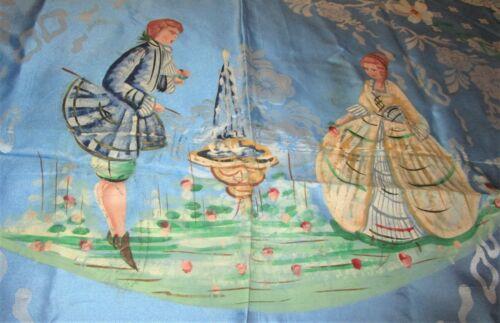 Antique Italian Damask Bedspread Hand Painted S. LEUCIO Fringed Blue Unused