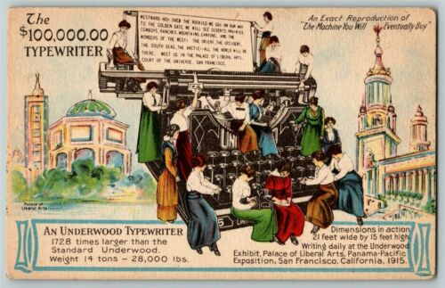 "Vintage 1915 Pan Pacific Exposition San Francisco Postcard ""Giant Typewriter"""