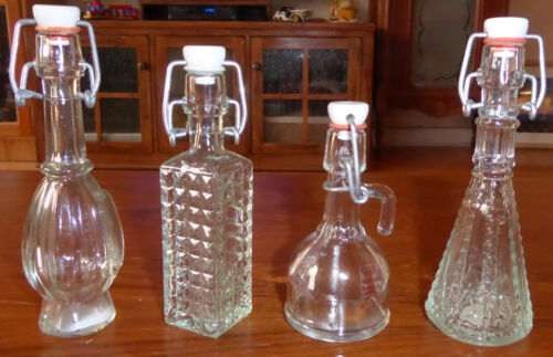 Lot of 4 Vintage Miniature Resealable Bottles  from Italy / Spain