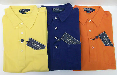 Polo Ralph Lauren SS Weathered Mesh Cotton Polo Shirt $79  Chest Pocket 3 Colors