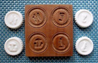 WOODEN GERMAN Springerle Butter Cookie Stamp Press Mold  4 PRINT FOLK ART PRESS