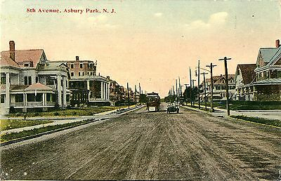 Large Homes  Looking Up 8Th Avenue At A Trolley   An Auto  Asbury Park Nj