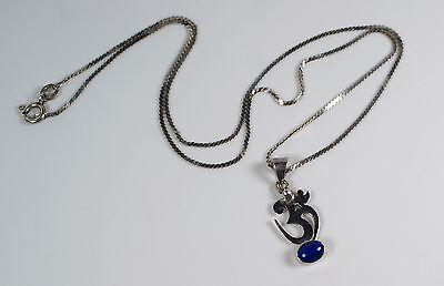 Sterling Silver Om Aum Hindu Character Symbol Lapis Cabochon Pendant Necklace