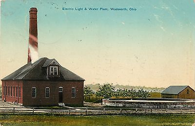 A View Of The Electric Light & Water Plant, Wadsworth, Ohio OH 1910