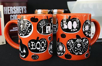 "CRATE & BARREL HALLOWEEN MUGS – 2 ADULT –NWT– WHO COULD SAY ""BOO"" TO THESE? - Crate And Barrel Halloween Mugs"
