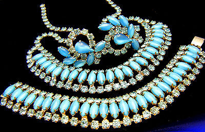 Stunning Blue Rhinestone Satin Glass Parure Necklace Bracelet Earring Set on Lookza