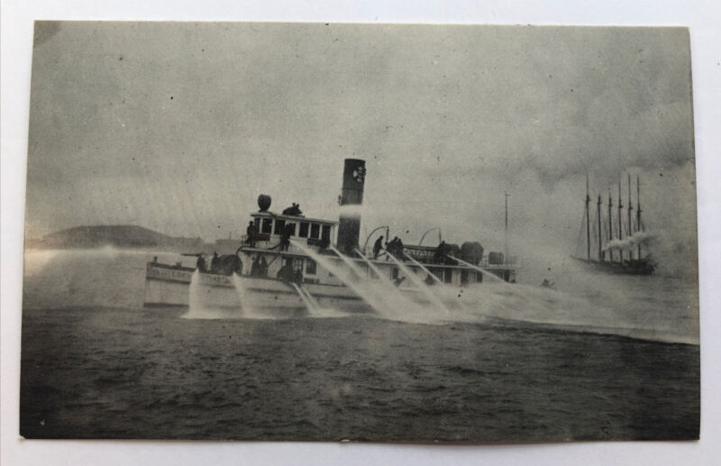 """1909 Philadelphia Fire Boat """"Edwin S. Stuart""""  Post Card"""