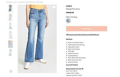 Levis levi's ribcage flare jeans in jive song size 24