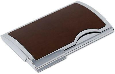 Slim Genuine Smooth Brown Leather Business Card Holder