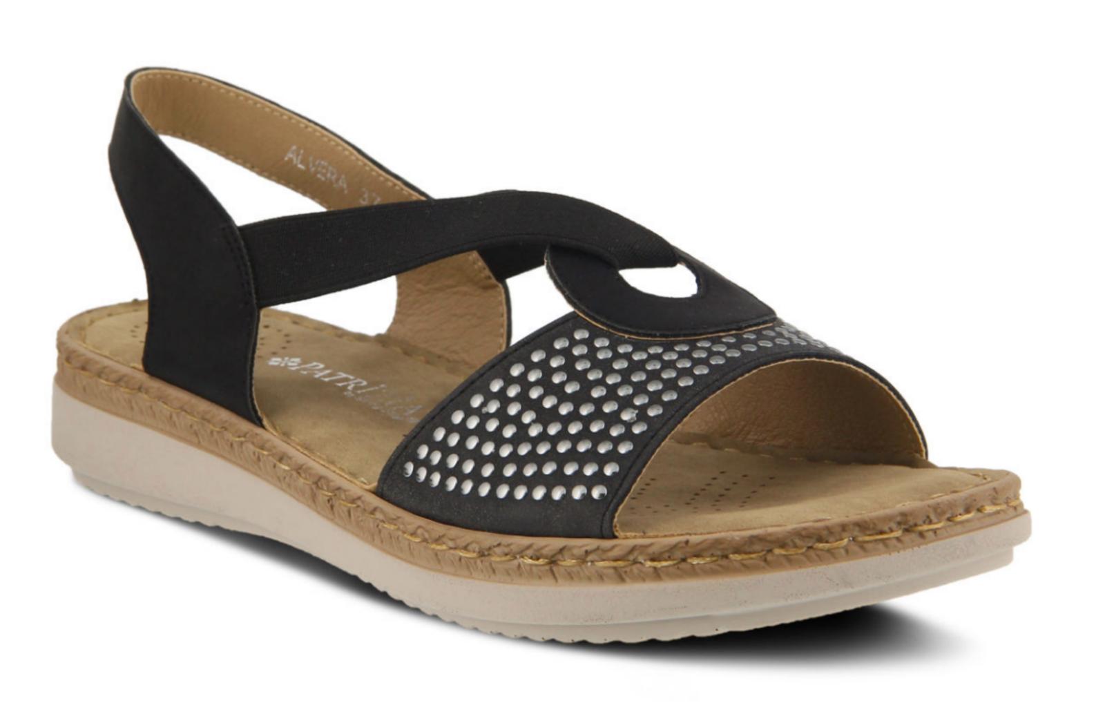 Patrizia by Spring Step ALVERA Womens Black Slip On Slingback Sandals
