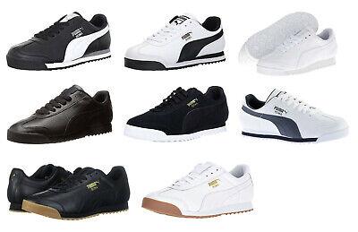 Puma Roma All Black, Black, White, Grey, Navy Gum Sneakers Trainers Tennis Shoes (Navy Gum)