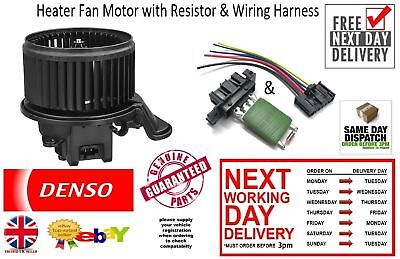 New Denso Heater Blower Fan & Resistor & Wiring Harness Motor Citroen Nemo 2008>