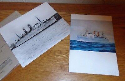Original Vintage 1950's Menu from SS Empress of France Liner + Photo of Ship