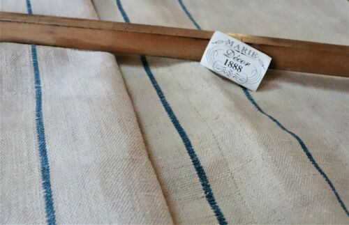 "Antique French Home Spun Hemp Rustic Striated Flour Sacks 18 3/4x 32""  45 x 82cm"