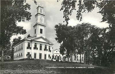Simsbury Connecticut Congregational Church 1930S B W Postcard