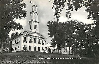 Simsbury Connecticut Congregational Church 1930S B W Postcard