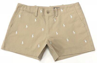 Ralph Lauren Women's Shorts Pony Allover in Dune Tan RRP £98 - Tan Womens Shorts