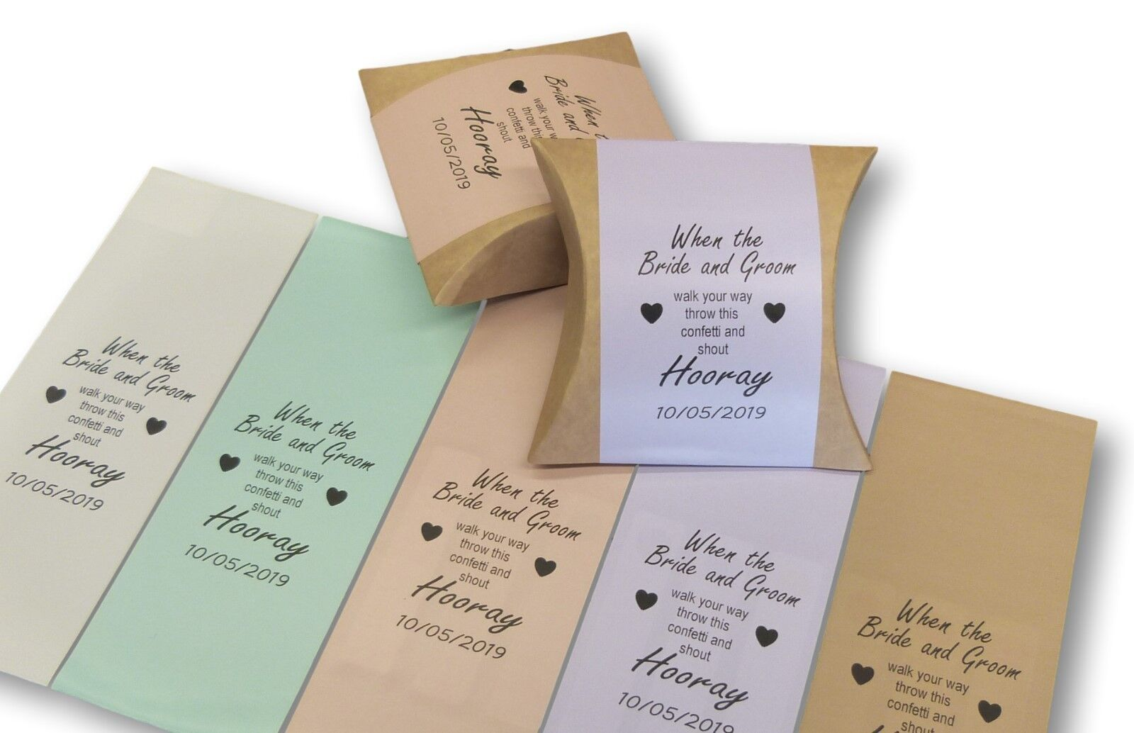 50 x PERSONALISED CONFETTI POUCH BOXES KRAFT BROWN AND COLOURED LABELS WEDDING